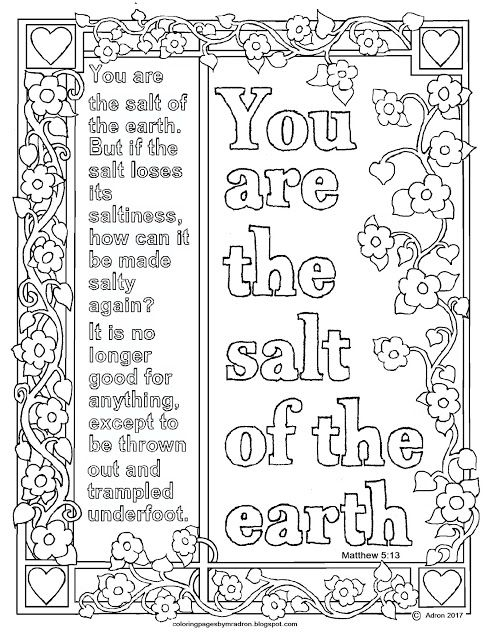 Matthew 5 13 Print And Color Page You Are The Salt Of The Earth