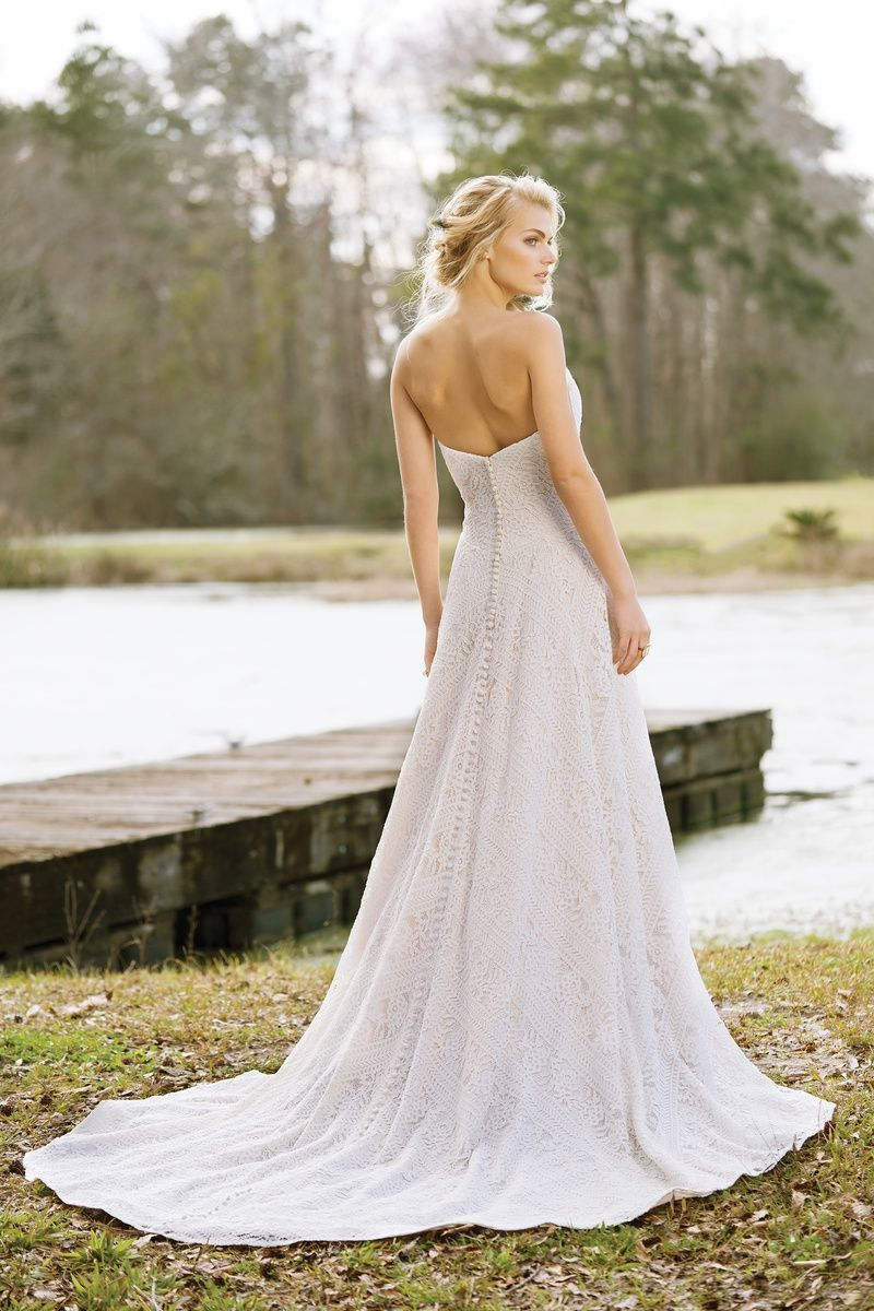 Style 6458 Strapless ALine Gown with Geometric Lace