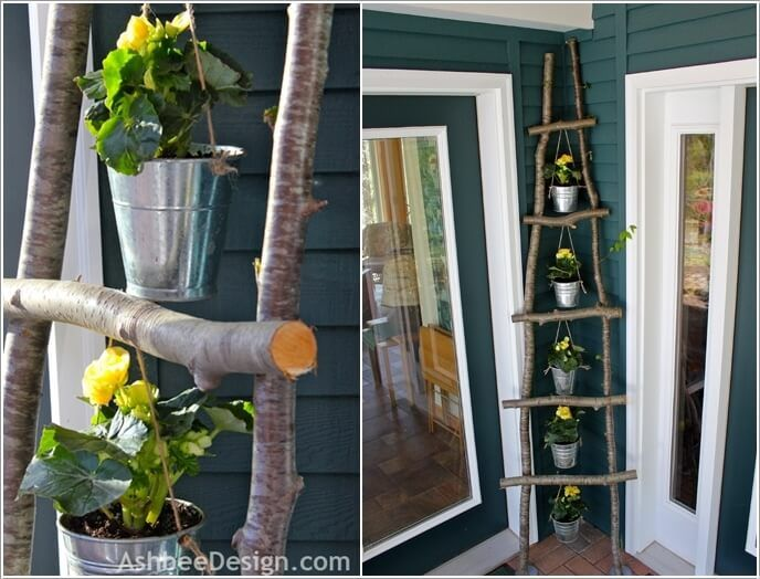 make a ladder with branches and hang planters