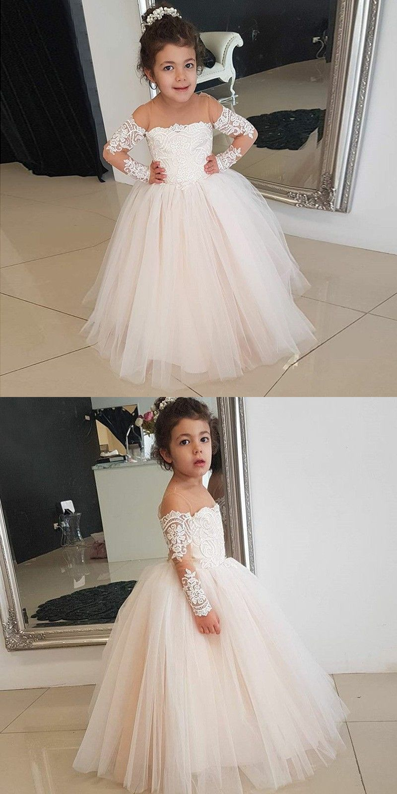 A Line Round Neck Long Sleeves Pearl Pink Flower Girl Dress With