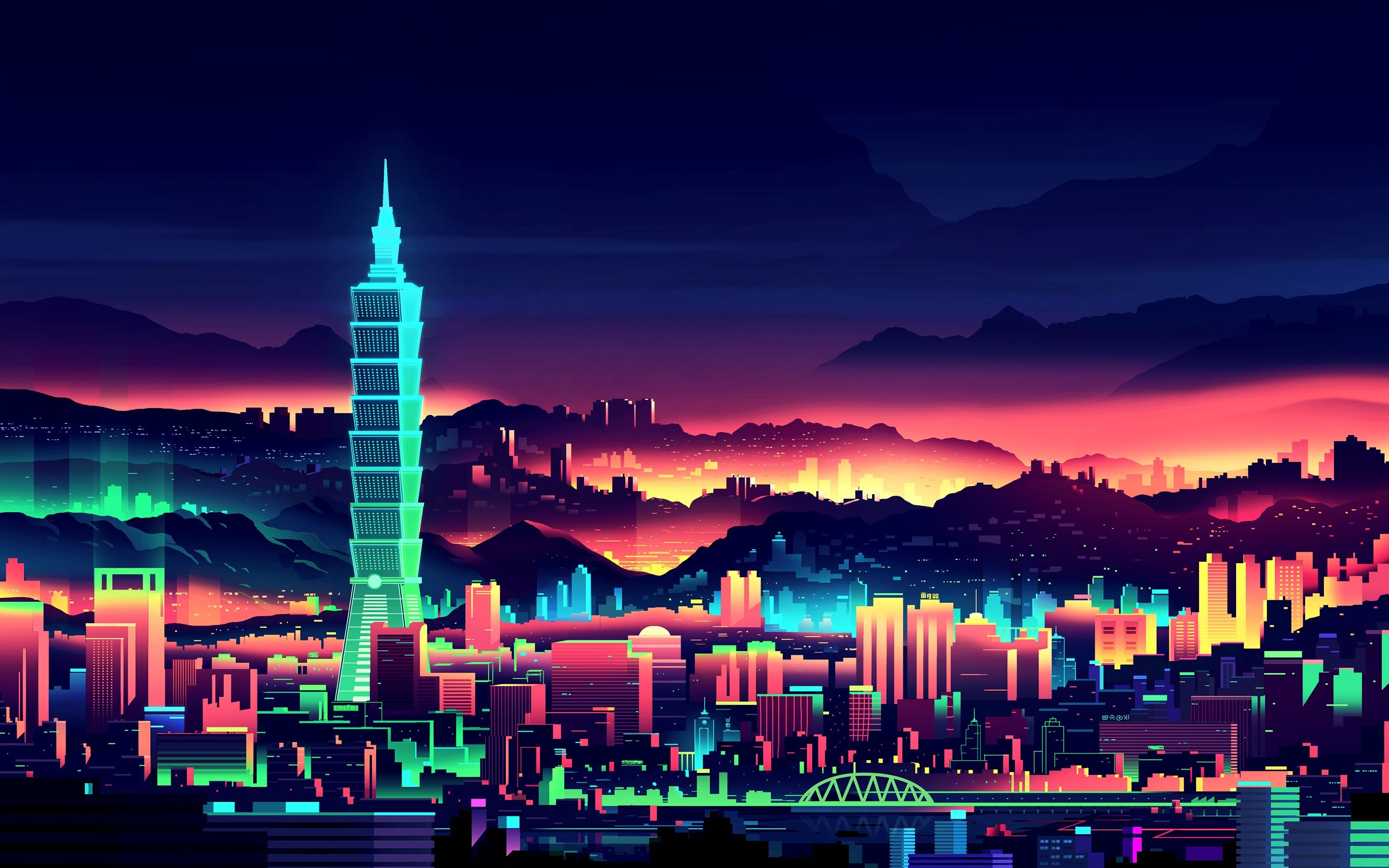 A pretty nice neon wallpaper Vaporwave wallpaper, City
