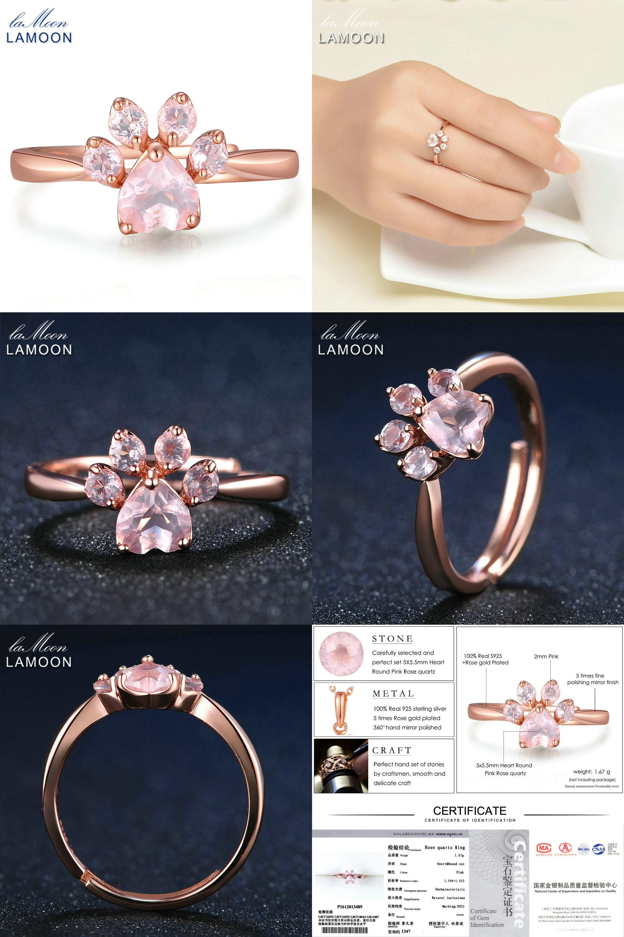 Visit to Buy] LAMOON 925 Sterling Silver Ring Fine Jewelry Rose