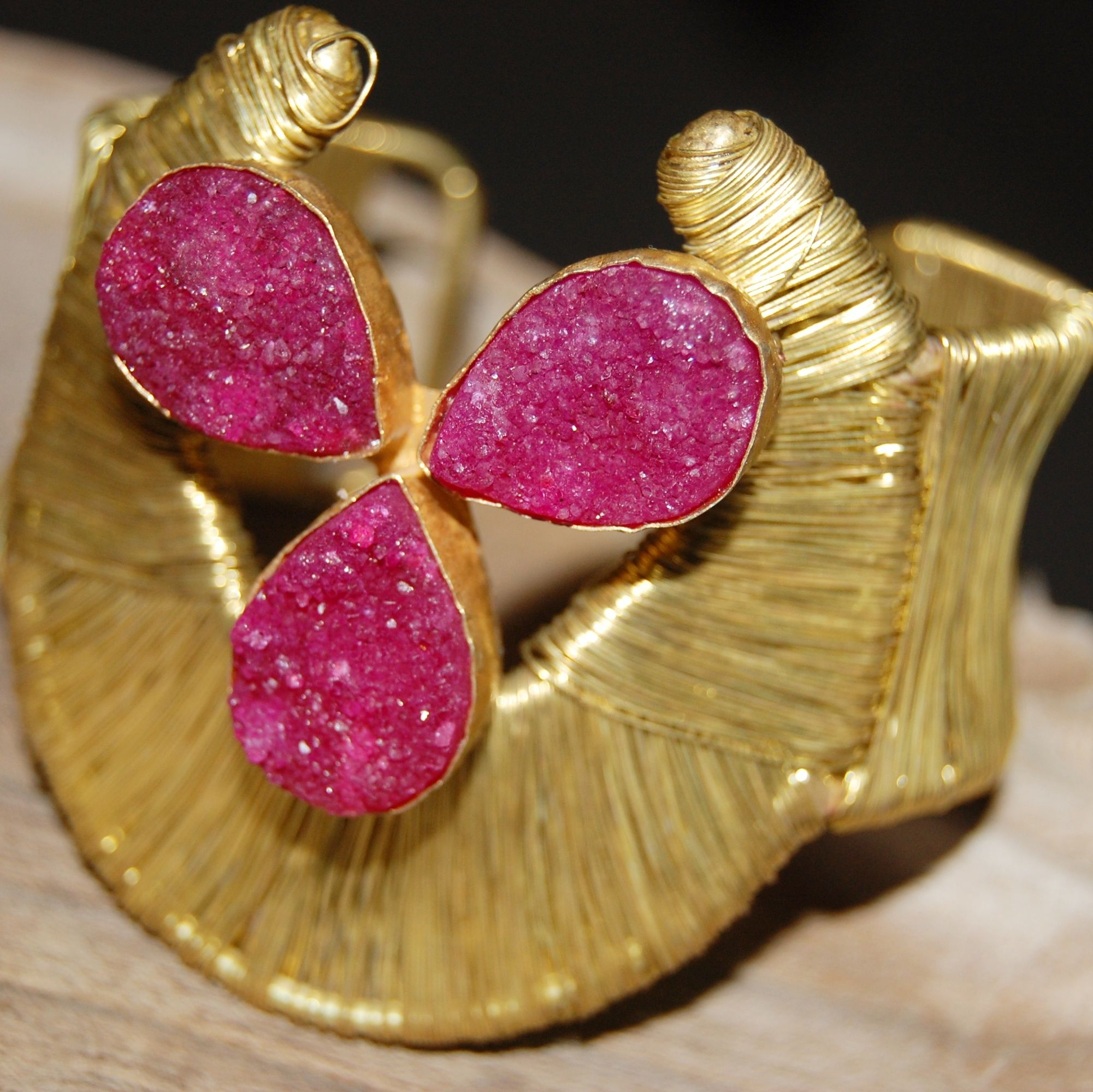 Pink Druzy cuff.