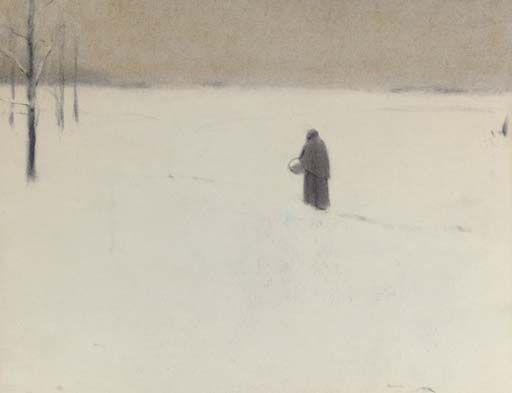 Fernand Khnopff (Belg. 1858-1921), La Vieille en hiver, crayon et fusain sur papier avec traces de crayons de couleur, 22.2 × 27.9 cm, collection privée