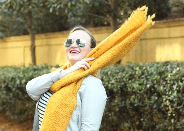 Mustard Scarf Fuchsia Handbag Outfit