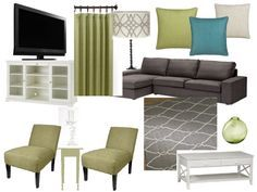 Grey Living Room With Green Accents   Google Search
