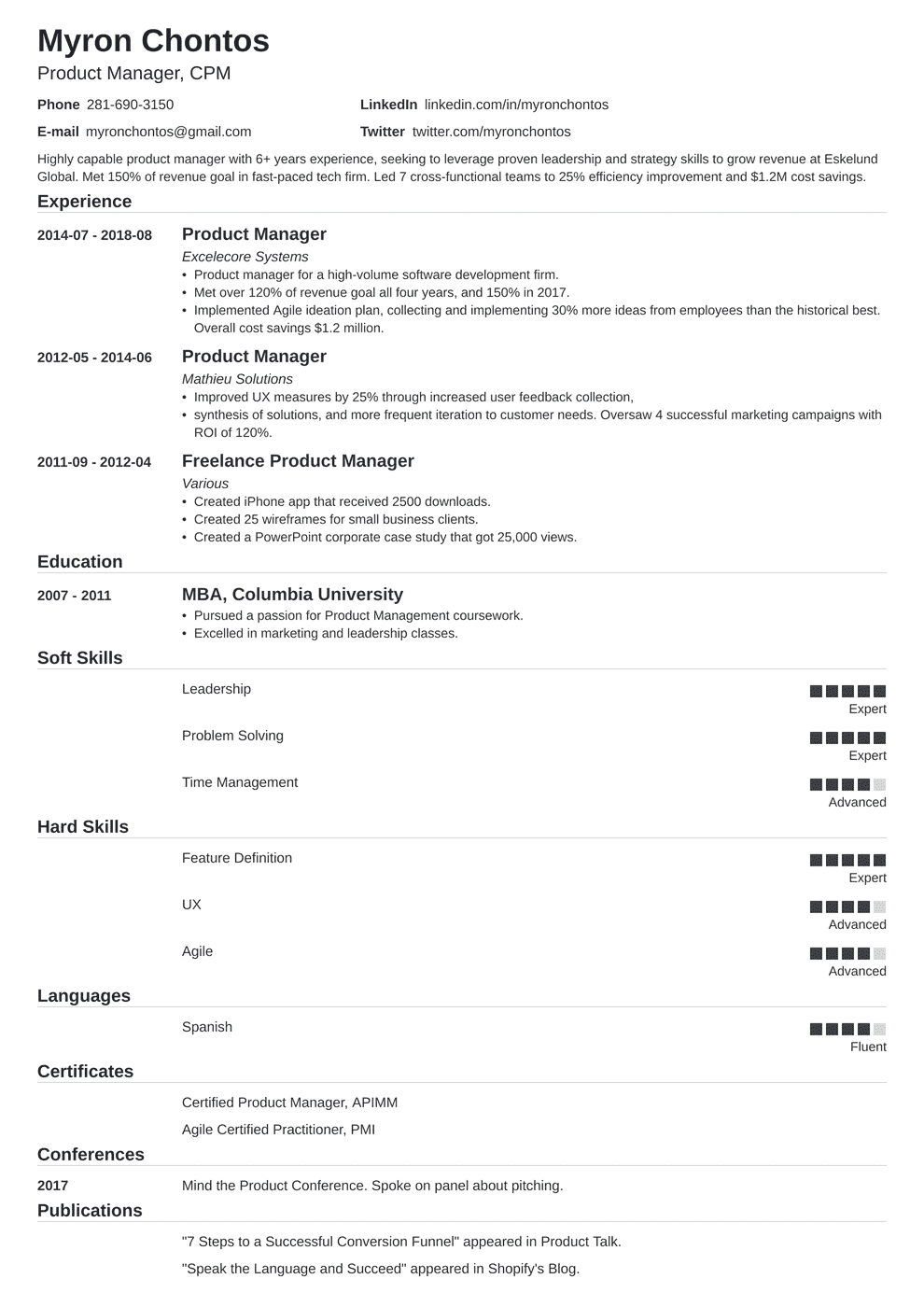 product manager resume template nanica in 2020 Teacher