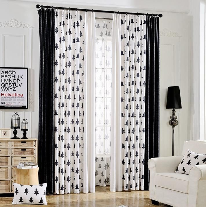 Black And White Tree Print Linen Cotton Blend Bedroom Curtains