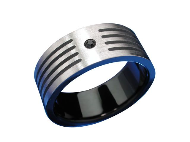 Stainless Steel 8mm 4 Black Lines And Black Cubic Zirconia Ring