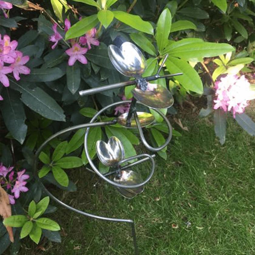 Silverware Butterfly Twirl Garden Stake