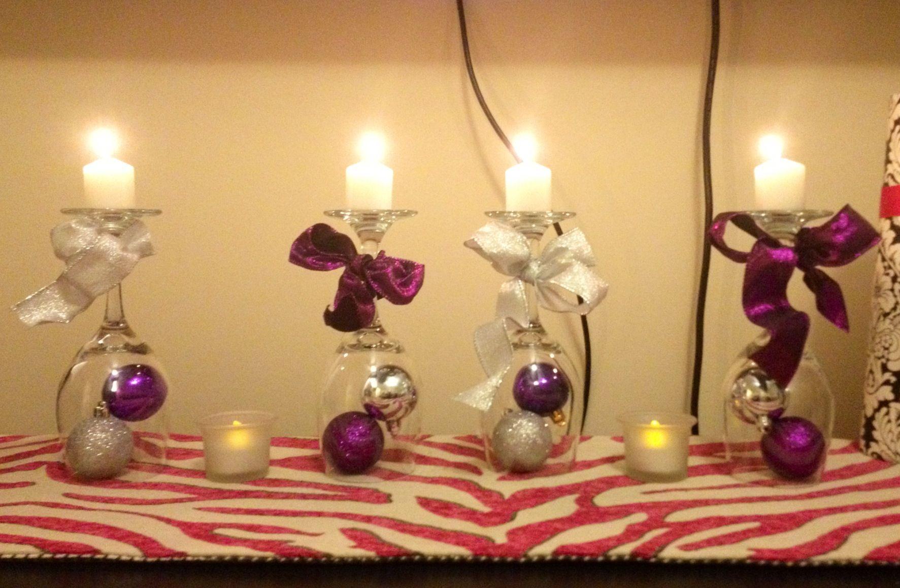 My Pinterest Inspired Wine Glass Christmas Decor Wine Bottle Crafts Christmas Decorations Decorated Wine Glasses