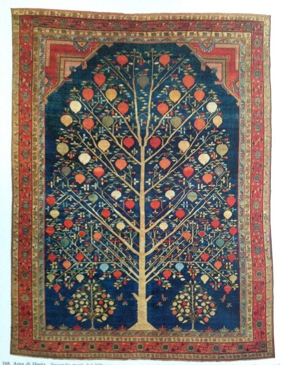 19th century Heriz with a pomegranate tree design Quilts