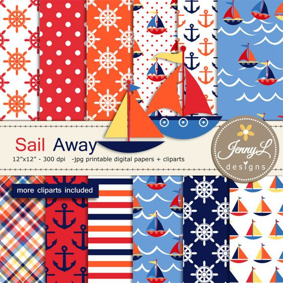 Nautical Sailing Digital Papers and Boat by JennyLDesignsShop