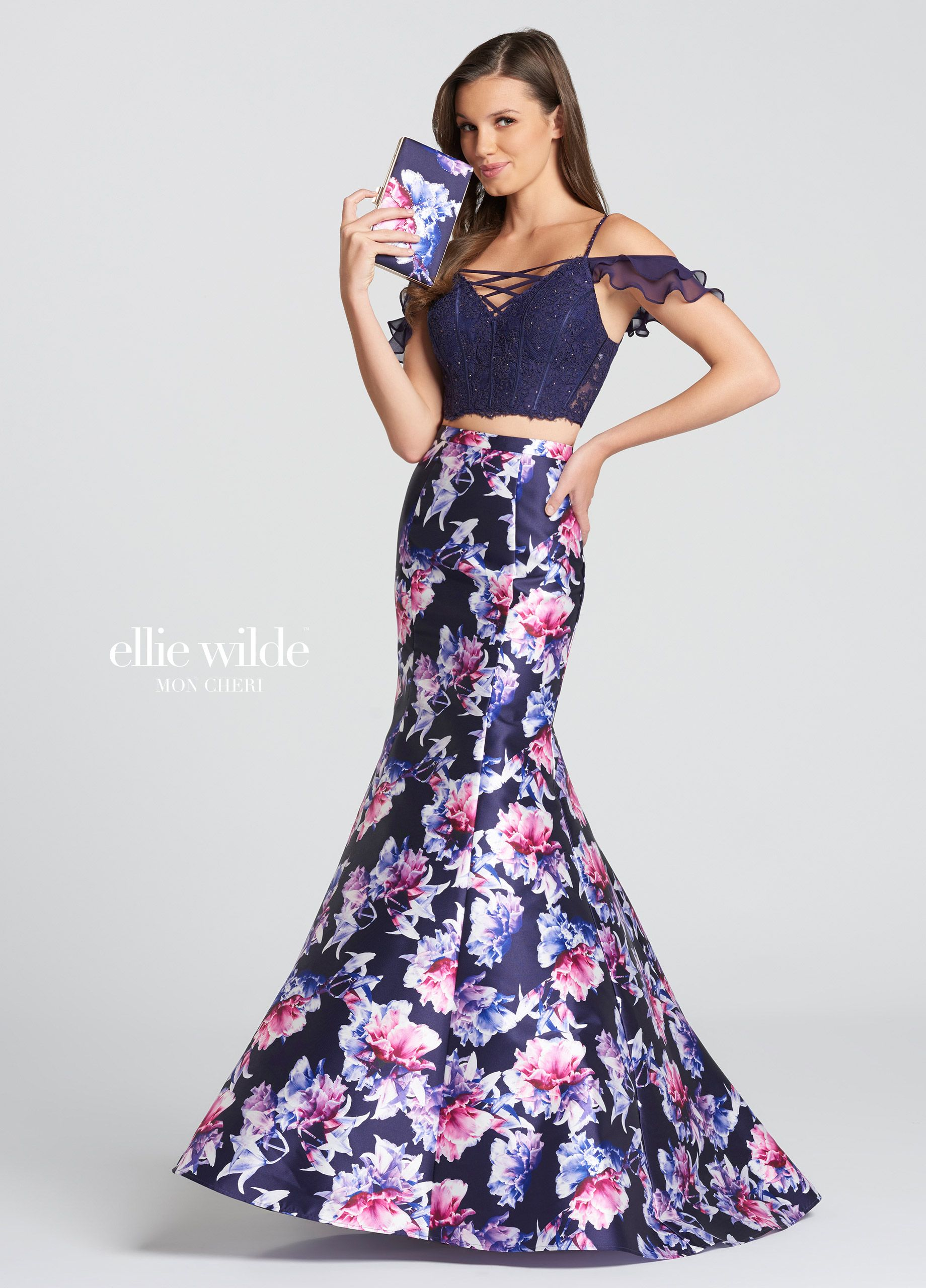 Two-Piece Off-the-Shoulder Floral Trumpet Prom Dress- EW118179 ...