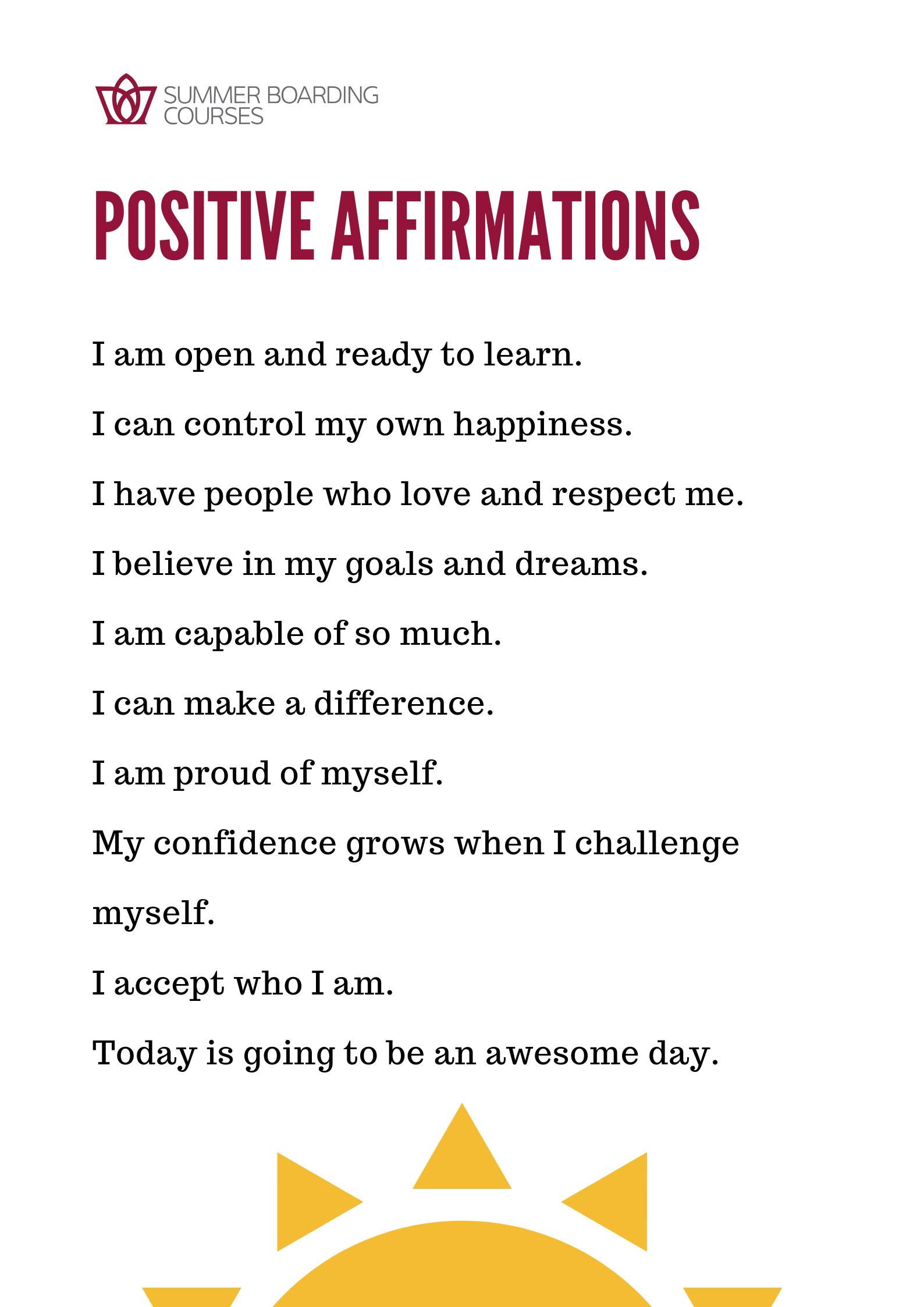 Positive Affirmations for School Kids