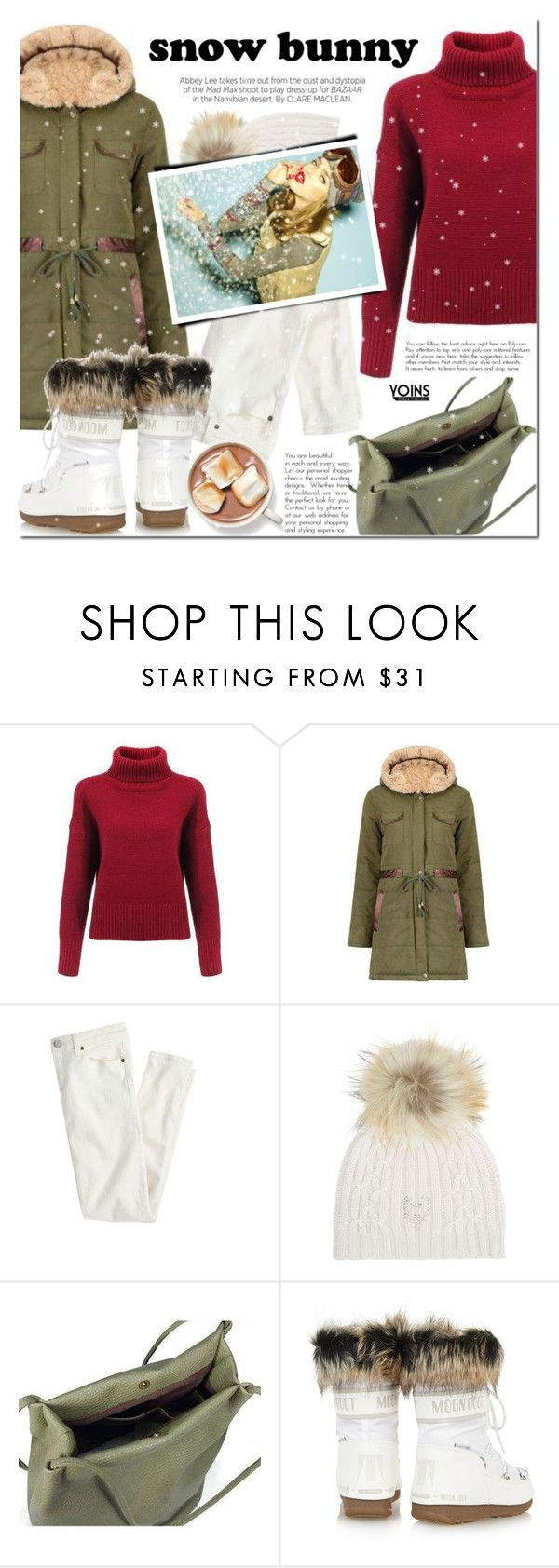 """Snow Bunny Style"" by mada-malureanu ❤ liked on Polyvore featuring Kershaw, J.Crew, M. Miller, Moon Boot and snowbunny"