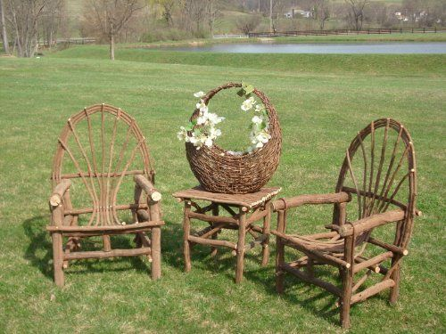 Rustic Grapevine Chair Set And Accent Table By Amish Made