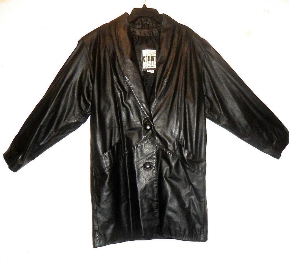 89 Comint Brand Genuine Leather Black Dual Button Front Winter Coat Medium Ebay Vintage Outfits Winter Coat Coat [ 916 x 1000 Pixel ]