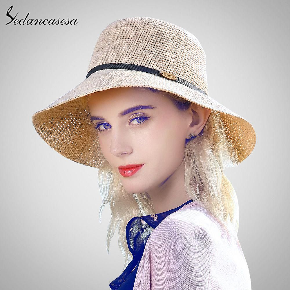 Sun Hats for women summer Large Brim Raffia Straw Bucket hat holiday  seaside sun protect beach d2c01a3de462