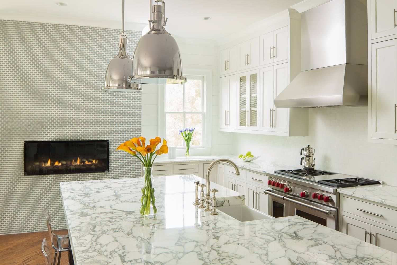 Modern kitchen fireplace - White Kitchen Modern Kitchen Fireplace Double Island