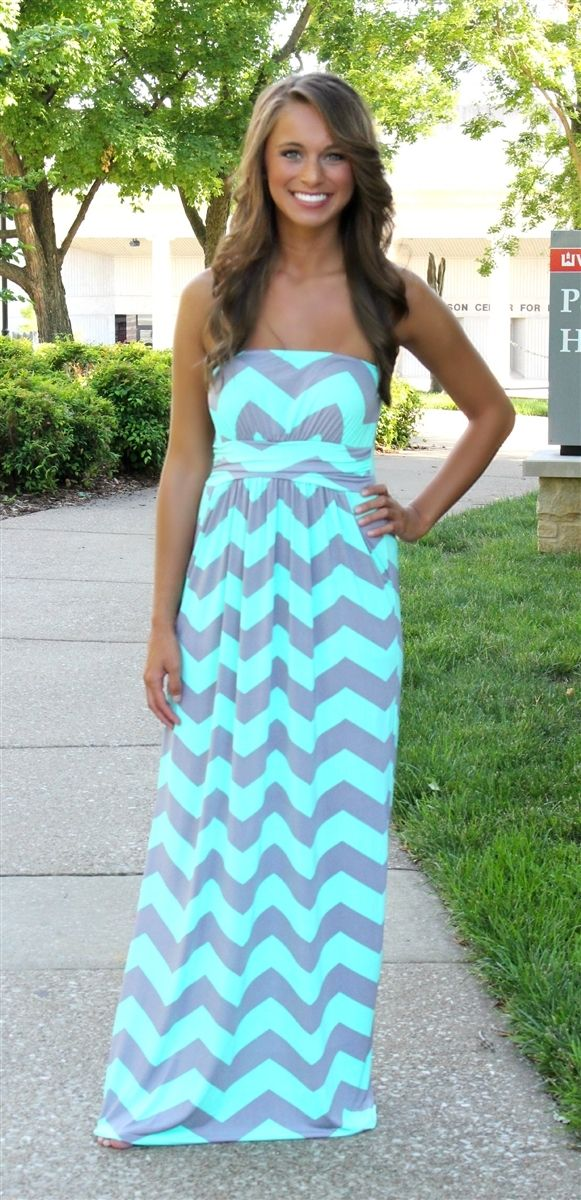 The Pink Lily Boutique - Mint and Grey Chevron Maxi, $39.00 (http ...