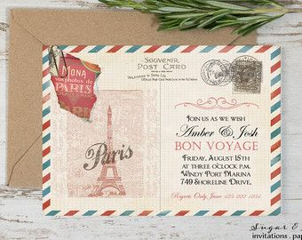 Paris Postcard Template Destination Postcard Invitation Bon