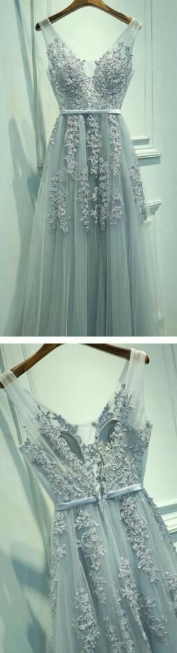 Tulle Long Party Prom Dresses, V Neckline Grey Lace Prom Dresses ...