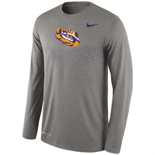 6d88035535abf Nike LSU Tigers Heather Gray Sideline Dri-FIT Legend Long Sleeve  Performance T-Shirt  lsu  louisiana  tigers