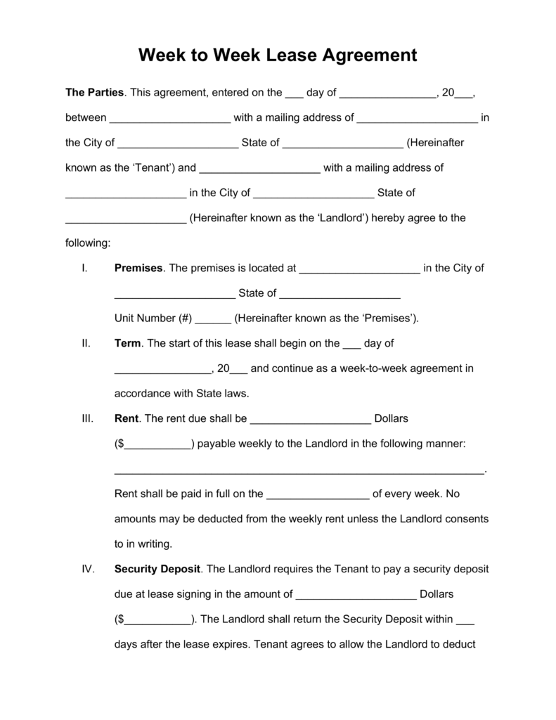 Free Week To Weekly Lease Agreement Template