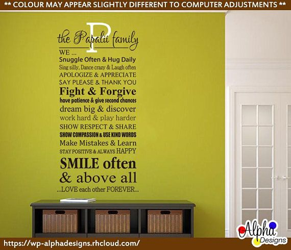 Wall Art Decal  Personalised Family Name and Rules