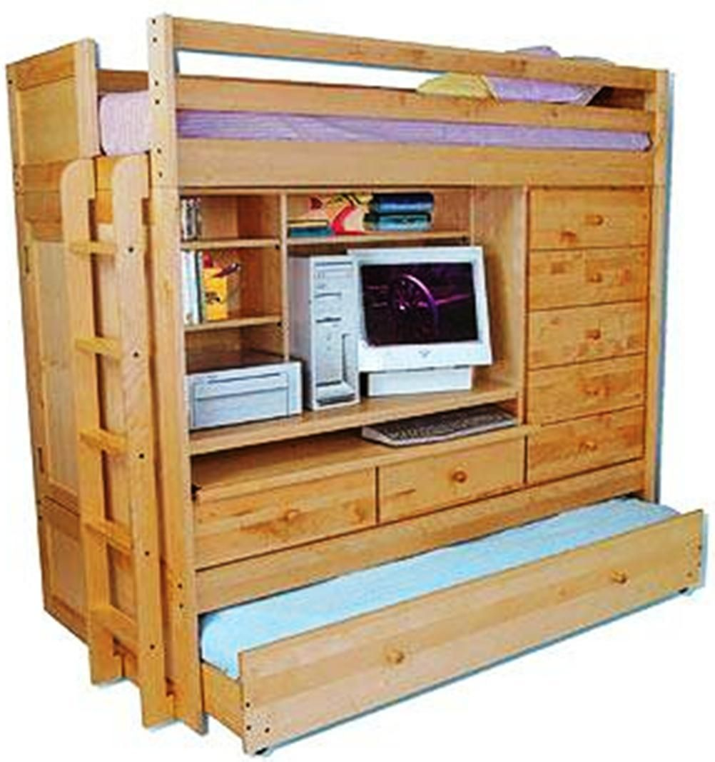 Loft bed plans with desk and shelves  BUNK BED Paper Patterns LOFT ALL IN W TRUNDLE DESK CHEST CLOSET