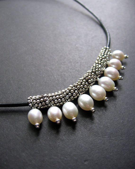 Pearl Necklace. Leather Pearl Necklace - Tremont Necklace This is definitely not your mothers pearl necklace In this necklace, black