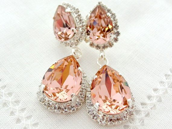 Blush chandelier earrings,Blush pink bridal earring,Blush pink ...