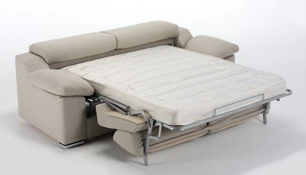 Sof cama de dos plazas tapizado en tela con cabezales for Sofa cama de una plaza y media