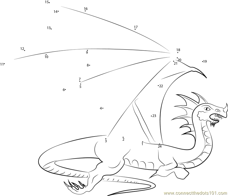 Flying with the Dragons dot to dot printable worksheet