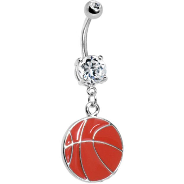 Crystalline Gem Basketball Belly Ring Body Candy Body Jewelry