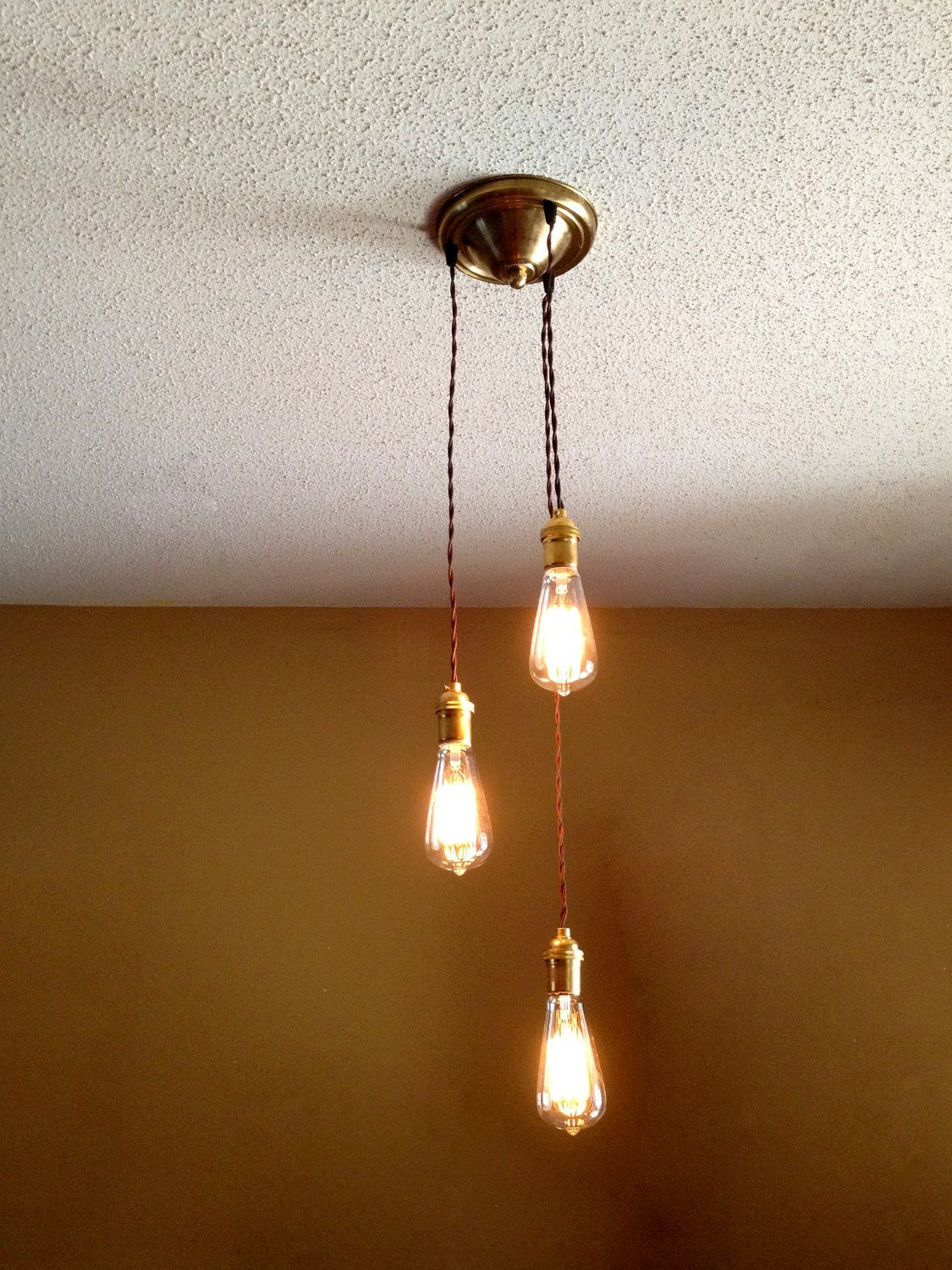 Hanging Bare Bulb Pendant Light 3 Bulb Cascading Chandelier