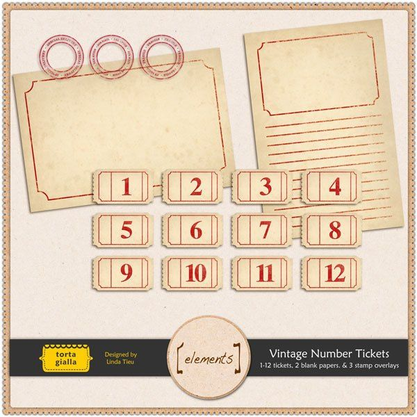 Free Printable Vintage Number Tickets and Paper Signage - printable ticket paper