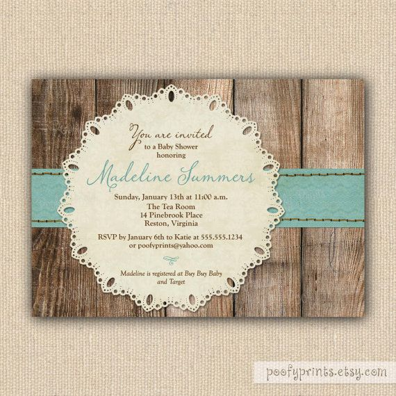 Baby Boy Shower Invitation / Printable Baby Shower Invitation / Rustic  Invitation With Wood Background Blue Ribbon And Lace Doily / Madeline