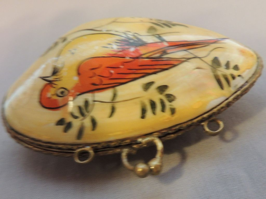 Antique Abalone Shell Doll Purse, Painted Birds, Velvet Lined Antique Coin Purse