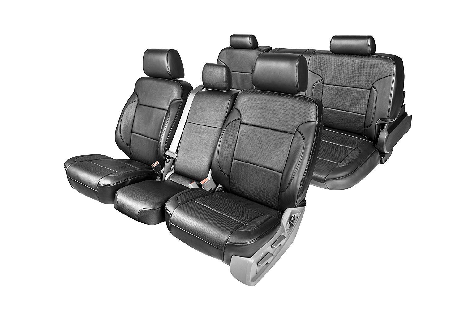 Clazzio 212012blkk Black Leather Front and Rear Row Seat