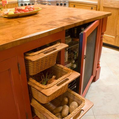 The Use Of Wicker Baskets For Breathability In These Root Vegetable Drawers Is A Great Idea Kitchen Furniture Design Kitchen Pantry Design Primitive Kitchen