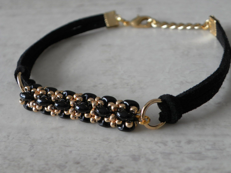Black beaded bracelet for woman faux suede bracelet unisex