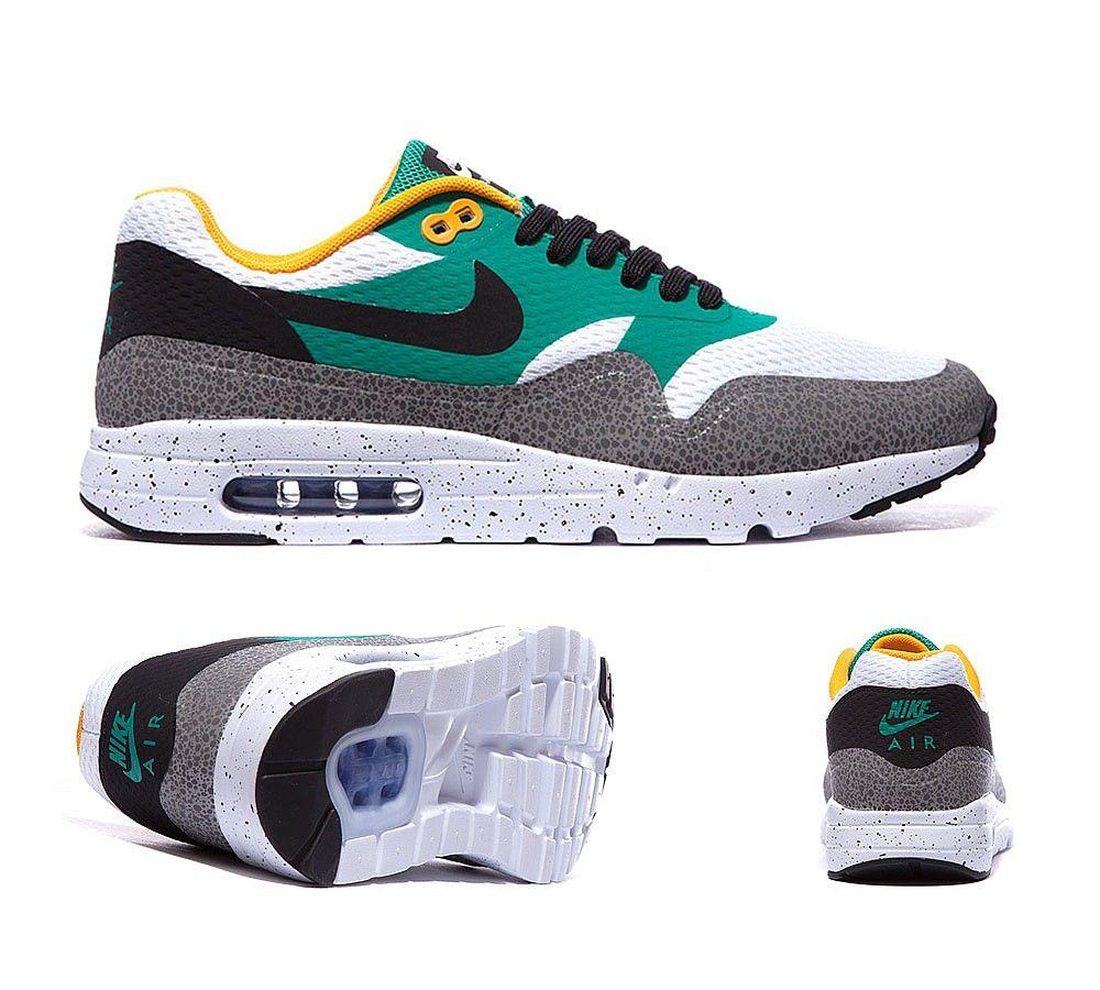 nike air max 1 ultra essential white black emerald green
