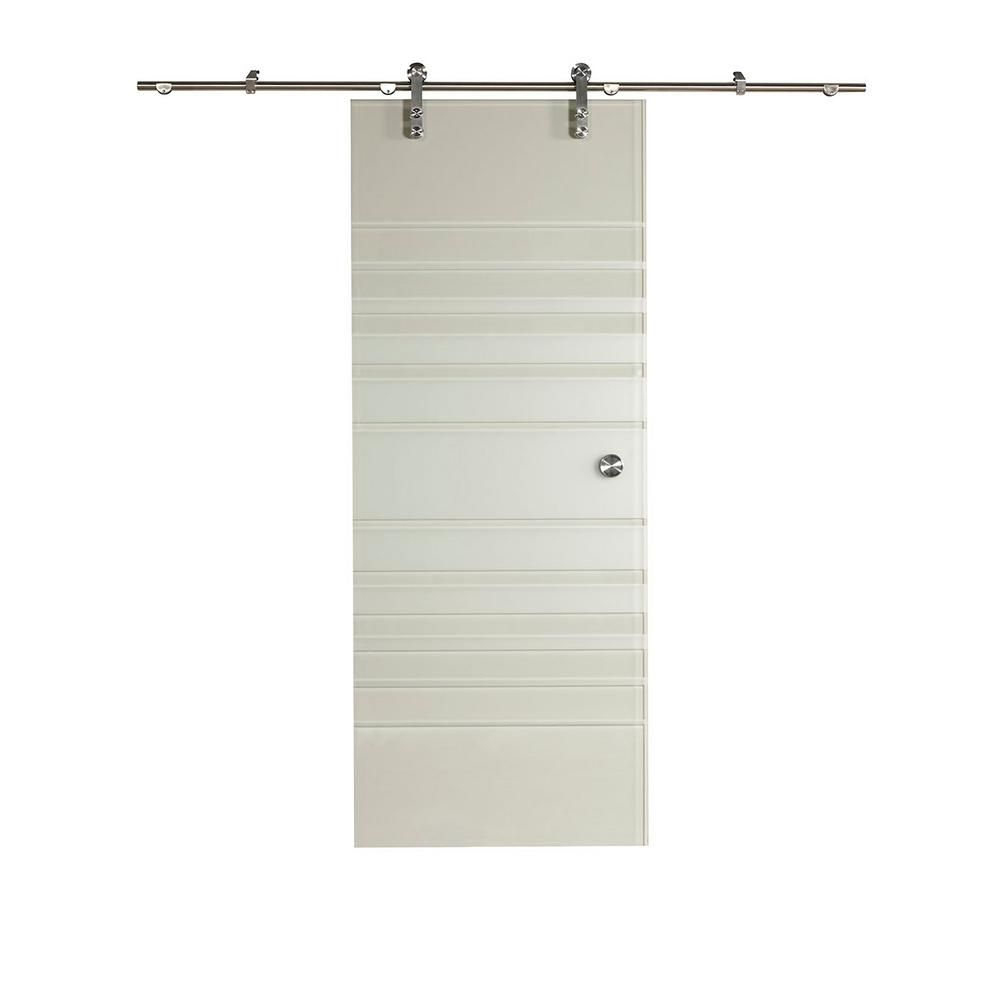 Pinecroft 38 In X 97 In Silhouette Glass Barn Door With Sliding