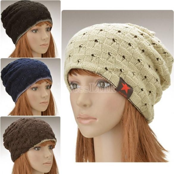 Stylish Knitted Acrylic Solid Color Unisex Cap Two Sides Use Couples' Fashion Hats And Caps