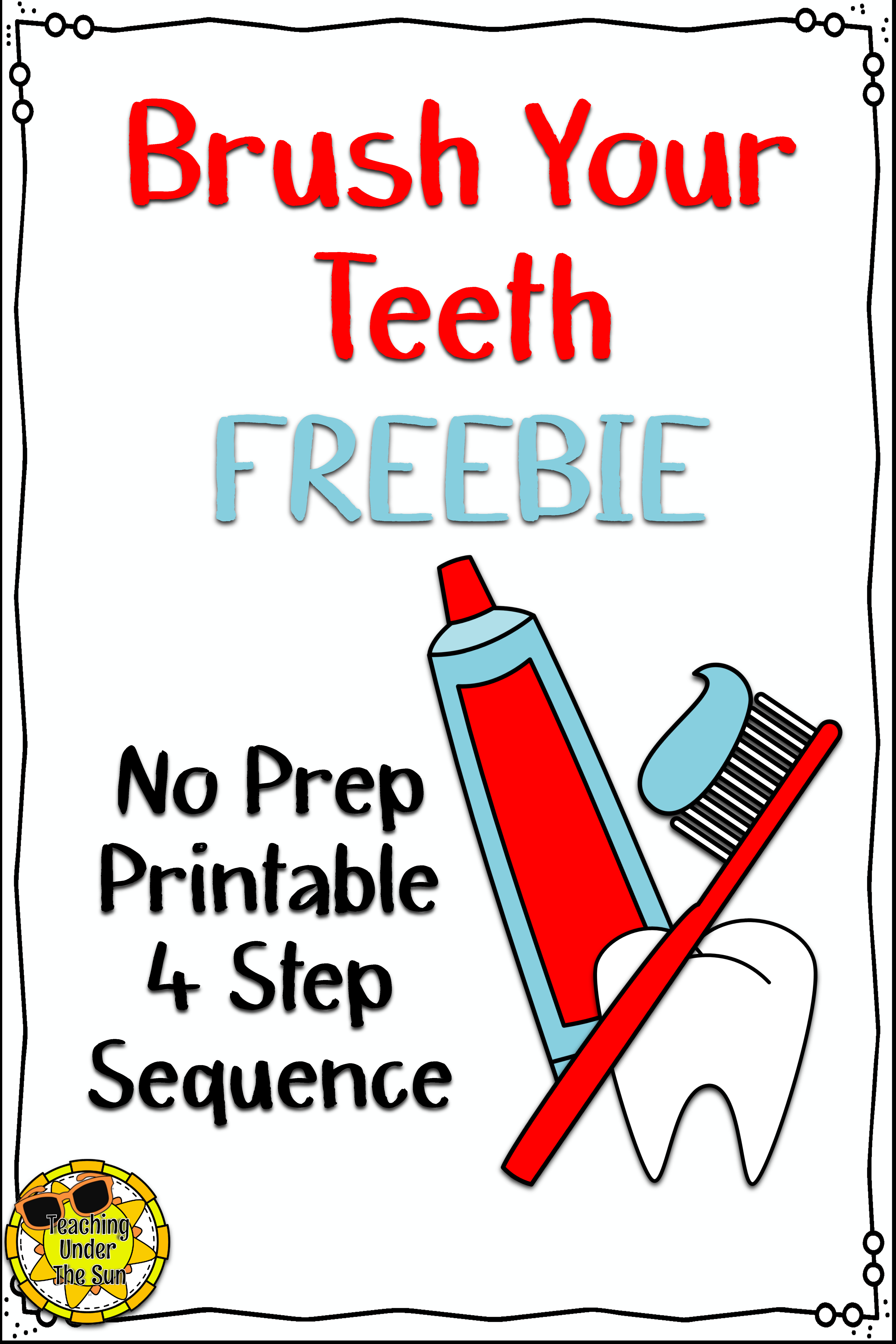 Teeth Brushing Sequence Dental Health Freebie No Prep