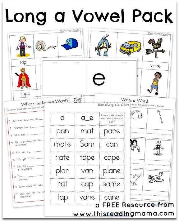 Long A Vowel Pack Phonics Teaching Phonics Long Vowel Worksheets Long vowel worksheets kindergarten pdf