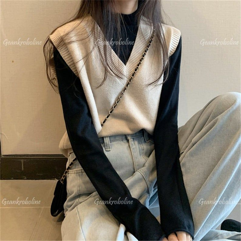 Knitted V-Neck Vest, JK Uniform Pullover, Sleevele