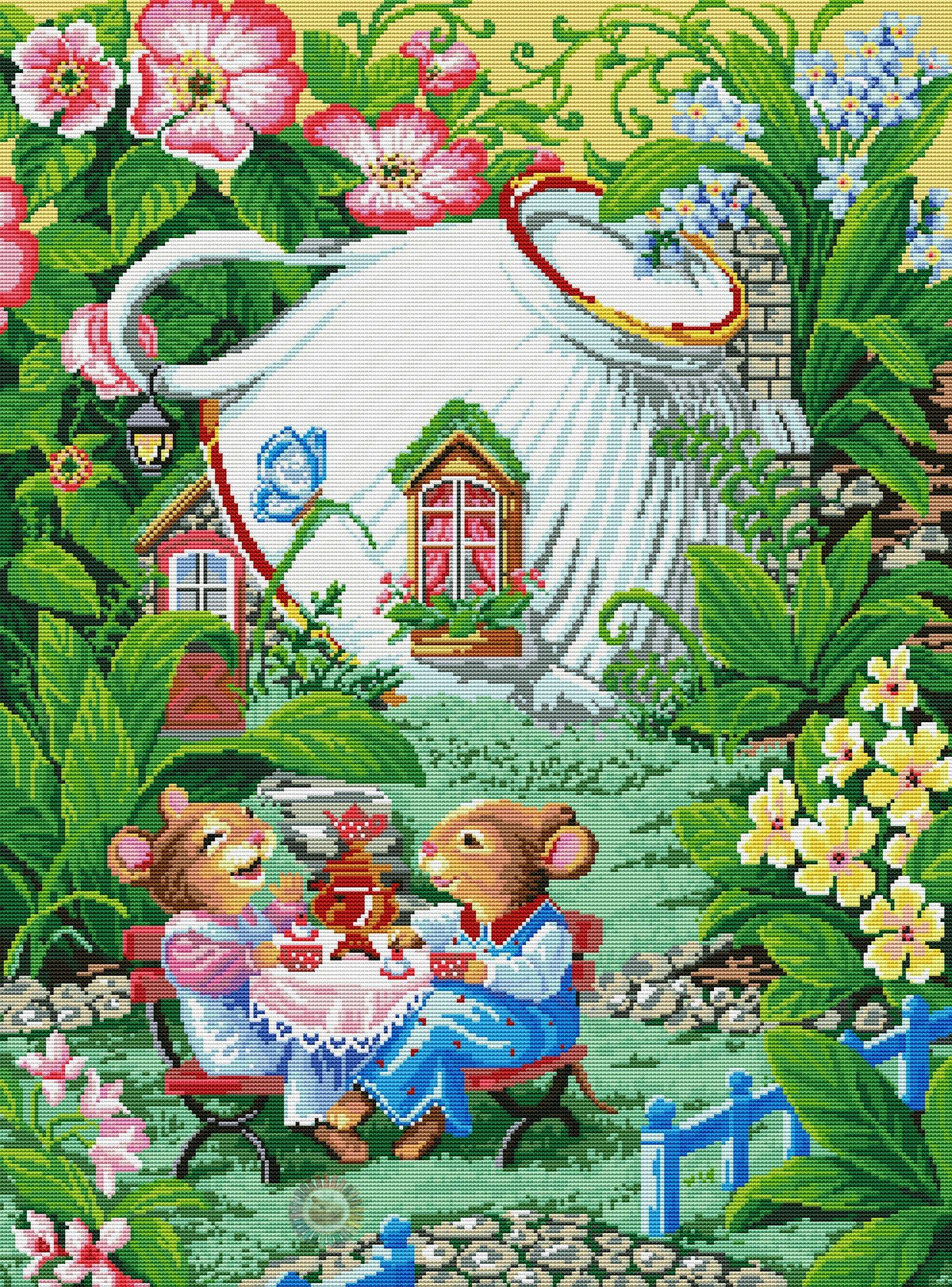Tea in the Garden (Another name for this embroidery is ...